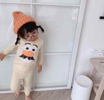 2019 韓国スタイルの少年少女 2 個セット tシャツ + ロングパンツファッション秋の子供のパジャマスーツ 1 -6t HU908