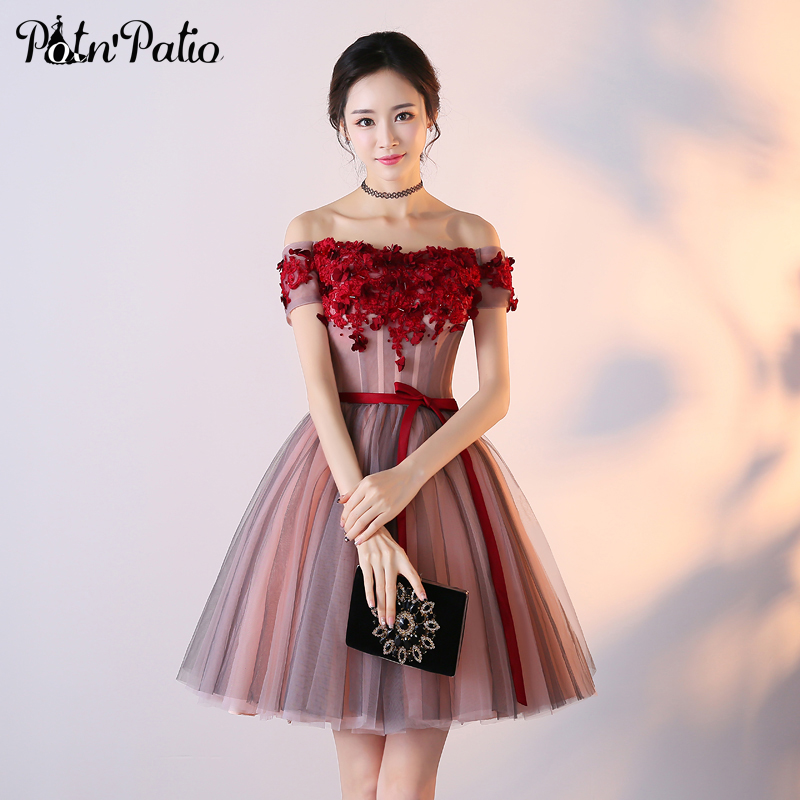 Potnpatio Off The Shoulder Homecoming Dresses Short Junior Formal