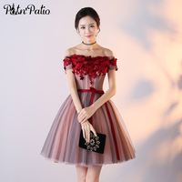 PotN Patio Off The Shoulder Homecoming Dresses Short Junior Formal Dress Luxury Appliques Flower Putty Prom