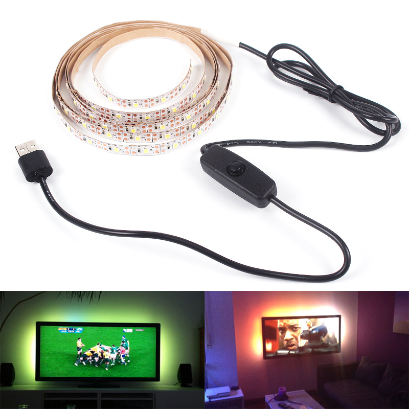 USB LED Strip Lamp SMD3528 DC5V 1M 2M 3M 4M 5M With Switch Flexible LED Light Tape Ribbon TV Desktop Screen Background Lighting