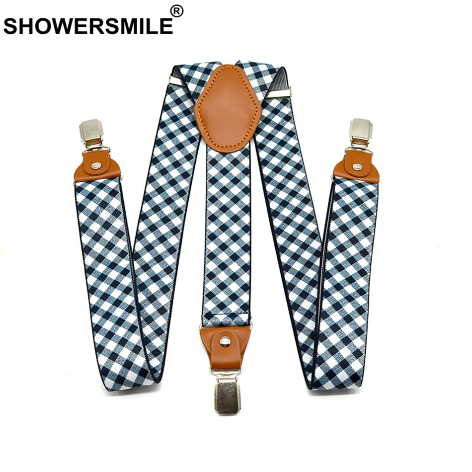 SHOWERSMILE Mens Suspenders Checkered Wedding Formal Braces Elastic Suspender Straps Mens Trouser Belt 3.5*120cm Men Accessories