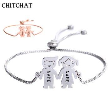 5b711af638e1 Personalizado bebé niño niña pulsera de acero inoxidable grabado Nombre  Fecha brazaletes ajustables para cumpleaños de niño regalos de familia