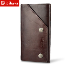 DICIHAYA Brnad Genuine Leather Men Wallets Vintage Trifold Wallet Zipper Coin Pocket Purse Soft Cowhide For Mens