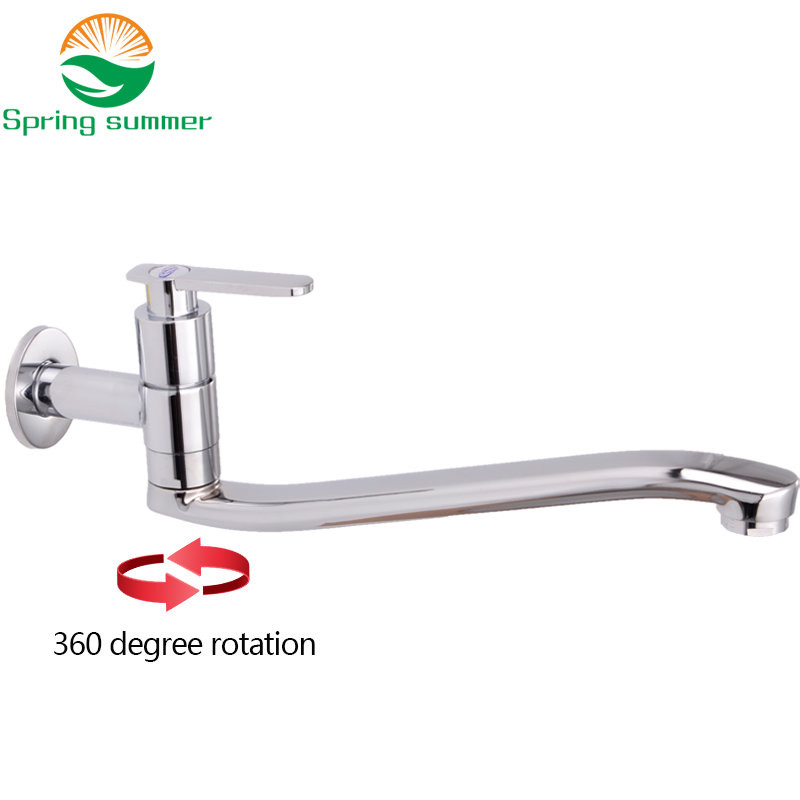 SPRING SUMMER Lengthen Kitchen Faucet Wall Mounted Single Handle  Copper Material Taps Cold Water