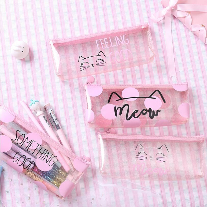 Pencil-Cases Pouch Transparent Pink Pen-Bag Stationery School-Supplies Girls Cat Cute
