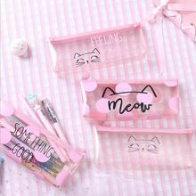 Милые карандаши с котами Чехлы для девочек розовый из ПВХ прозрачная ручка сумка, школьные принадлежности канцелярский мешочек симпатичный карандаш коробка canetas Escolar