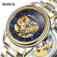 BOSCK New Mens Automatic Mechanical Watch Tourbillon Male Skeleton Wrist Watches Stainless Steel Wristwatches Relojes Mecanicos