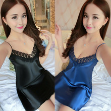 Sexy Silk Satin Night Dress Sleeveless V neck Nightgown Nightdress Lace Slim Casual Sleepwear Nightwear For