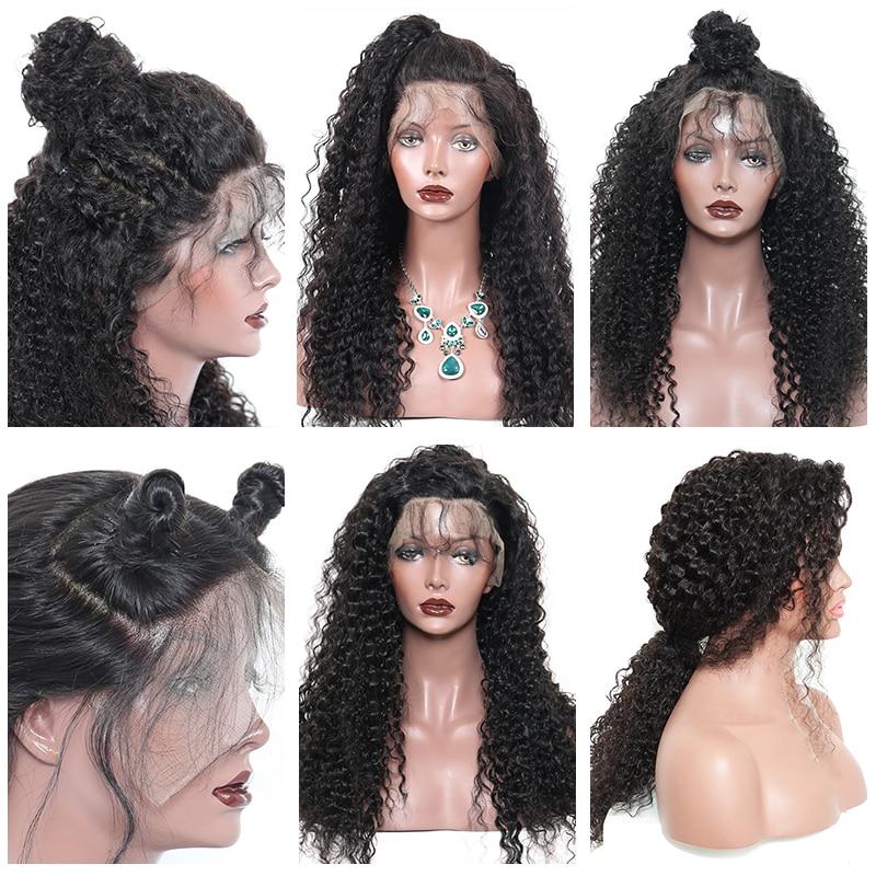 곱슬 머리 레이스 프런트 인간의 머리 가발 여성용 - 인간의 머리카락 (검은 색) - 사진 6