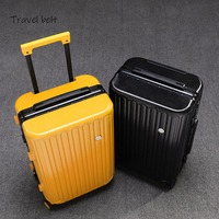 Travel Belt high quality Retro 100% aluminum frame Rolling Luggage Spinner brand Travel Bags Men Women Password Suitcase Wheels