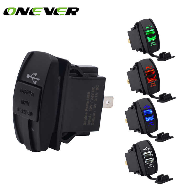 12V Dual USB Socket Car Charger Power Adapter 3.1A 5V Output With 4 Color LED Light For Phone