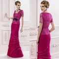 Newest Design Elegant Women Floor Length Short Sleeve Layered Gorgeous New Arrival Chiffon Lace Mother of the Bride Dress Long