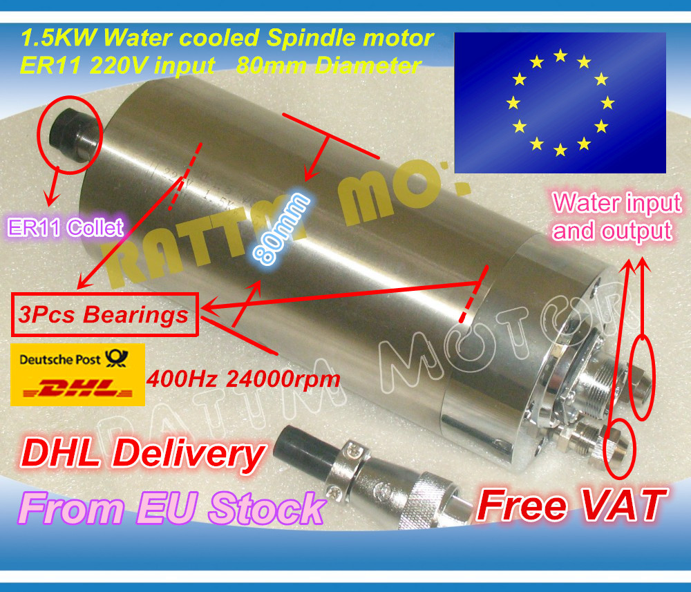 EU ship/free VAT 1.5KW WATER-COOLED CNC SPINDLE MOTOR ENGRAVING MILLING GRIND 80x188mm ER11 цена