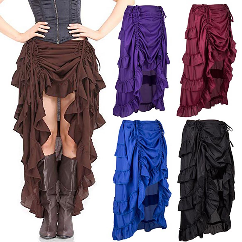 Women's Victorian Steampunk Skirt Retro Style Ruffled Trim Ankle Length High Low Long Skirt Renaissance Reenactment Costumes