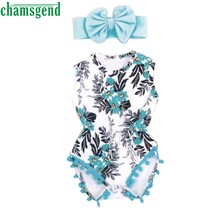 CHAMSGEND blue Newborn Kid Baby Girl Print flower pompon jersey hair Romper Jumpsuit Sunsuit+Headband Clothes Set 2018 oct11(China)
