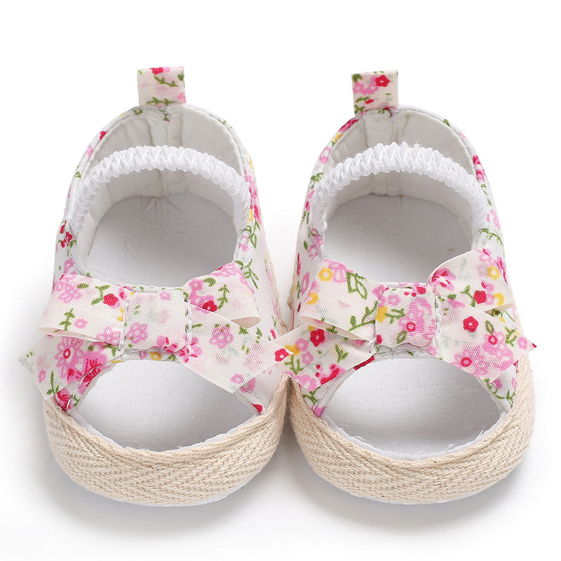 2018 Cute Flower Infant Girls First Walkers Soft Sole Baby Shoes Princess Shoes Summer Shoes