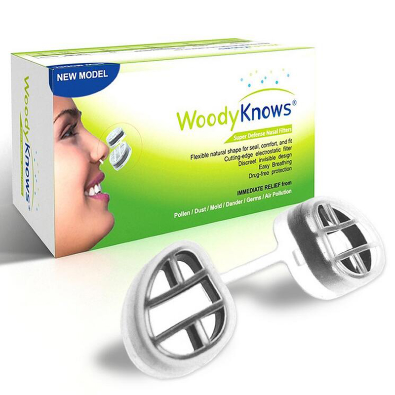 WoodyKnows Nose Filter Super Defense Nasal Filters Pollen Mask Pollen Mask Dust Allergy Relief No pm2.5 Air Pollution 2 pairs frame 2 pairs filter invisible pollen allergy nose filter pm2 5 dust n95 breathable stealth nasal filter mouth air mask
