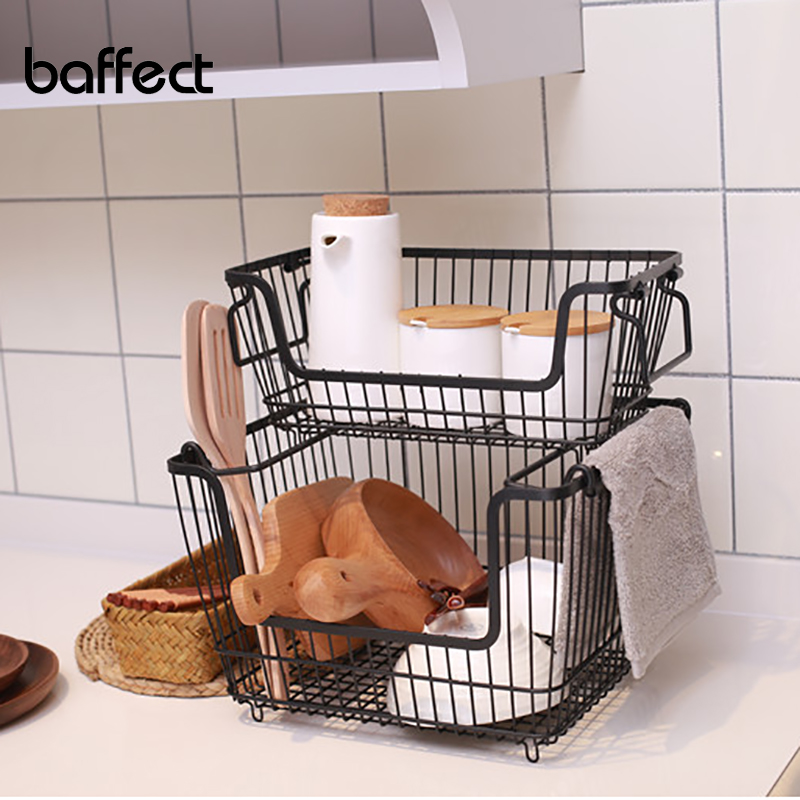 Baffect Storage Baskets Stackable Wired Rack Iron Storage Rack Organizer Shelves For Kitchen Space Saving Wired Basket Holder