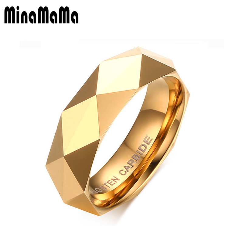 Personality Mens Polished Facet Cut Prism Shiny Tungsten Carbide Rings Jewelry Wedding Band Ring