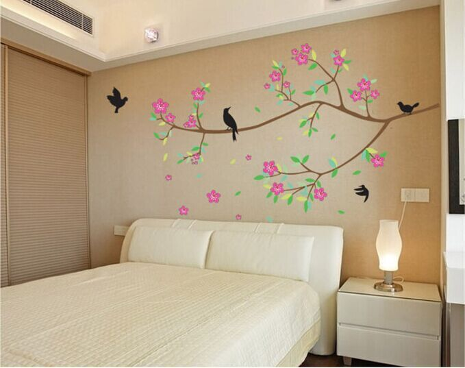 branch tree bird flower removable pvc vinyl decal home decor for living room window bedroom bathroom - Decorative Wall Tiles For Living Room