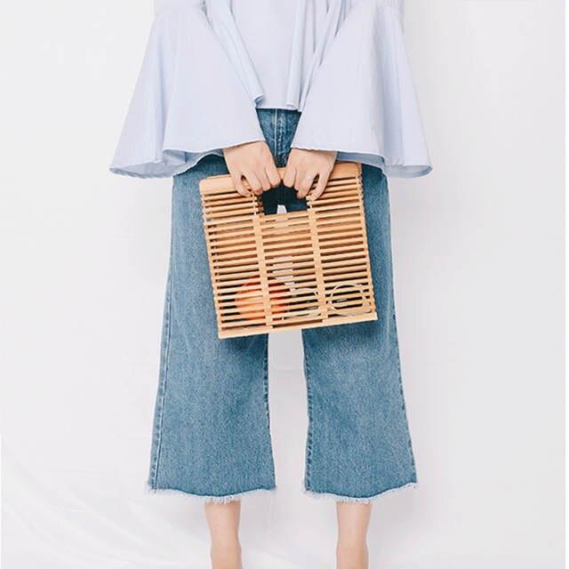 44bfb22c4b ARPIMALA 2018 Luxury Designer Beach Bags Small Fashion Bamboo Bag Women  Travel Straw Tote Clutch Trunk
