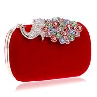 Clutch Peacock Evening Bags Purse and Handbags Shoulder Bag for Wedding Diamonds Lady Purse Diamond Chain