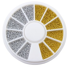 Plastic 3D DIY Nail Art Caviar Nail Wheel Manicure Tools Gold Silver Tiny Circle Beads Fingernail Decorations Supplier WY185
