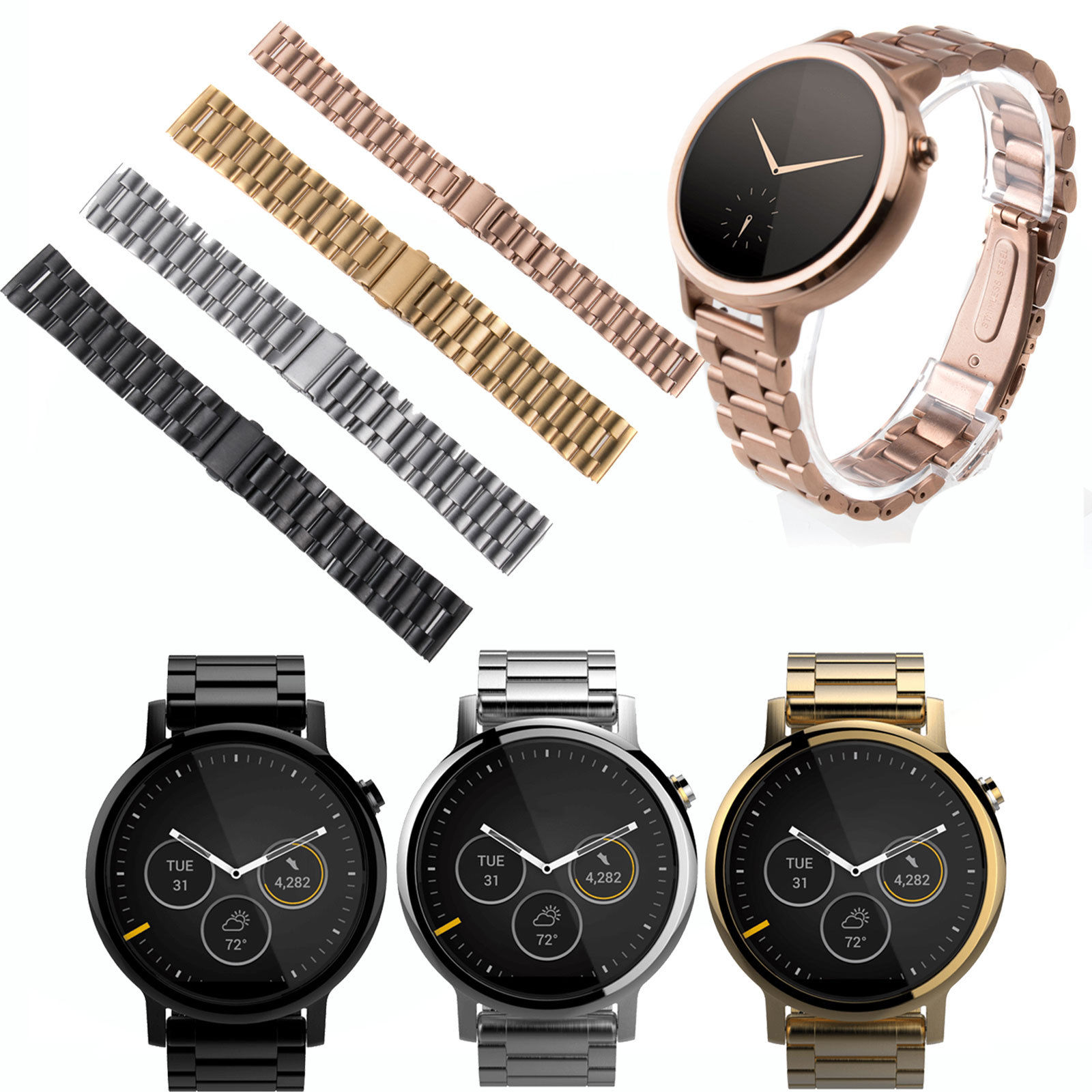 16mm 20mm 22mm Stainless Steel Watch Band for Motorola Moto 360 2nd Women 42mm Men 46mm 42mm Smart Watch Bracelet Strap +Tool stainless steel watch band strap for moto motorola 360 smart watch black silver watchband women men lady male