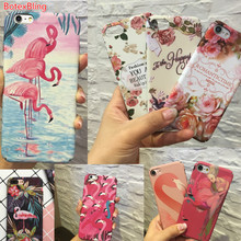 BotexBling 3D relief painted flowers Flamingo PC hard case for iphone 7 7plus 8 8plus 6 6s plus 6plus 5 5s se cover girl case