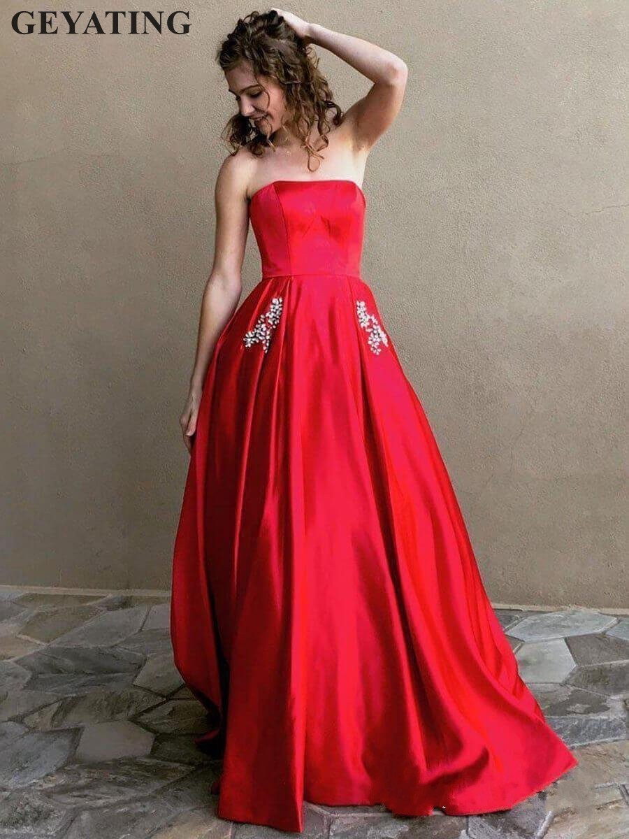 Simple Satin Red   Prom     Dresses   Long Elegant Strapless Formal Evening Gowns Crystal Yellow Hot Pink Graduation Party   Dress   Pockets