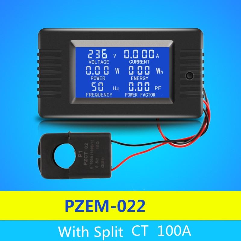 Peacefair Più Nuovo AC 6in1 220 v 100A Monofase Digitale Pannello Ampermeter Volt Watt Kwh Fattore di Potenza Metro Con Split CT