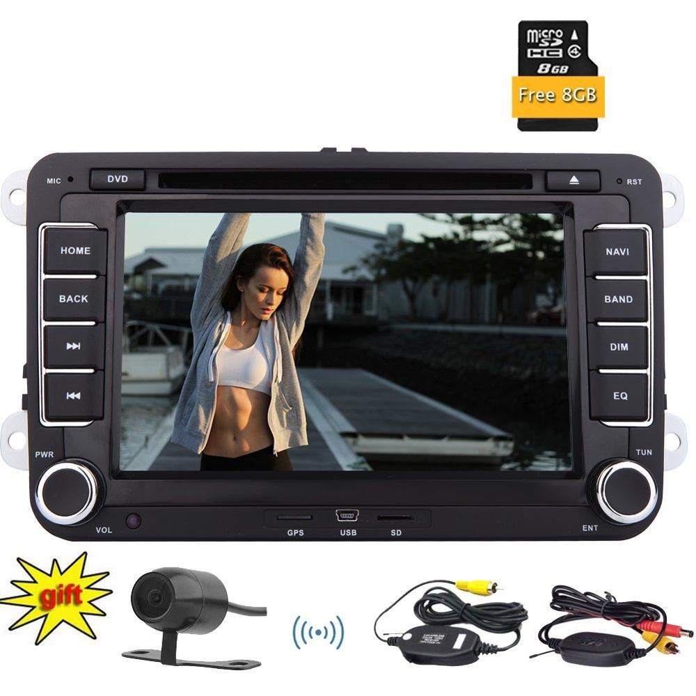 Double 2 Din Head Unit+Wireless Rear Camera and Map Card Bluetooth Autoradio GPS DVD CD Player FM AM Radio RDS SWC USB SD for VW