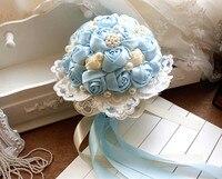 Best Selling Ngà Kem Trâm Bouquet xanh Bridal Wedding Bouquet de mariage nhân tạo Rose Wedding bouquet de fleurs mariee