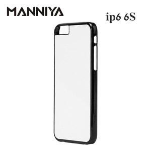 Image 2 - MANNIYA 2D Sublimazione Custodia in Plastica bianco per il iphone 6 6s con Inserti In Alluminio e nastro di Trasporto Libero! 100 pz/lotto