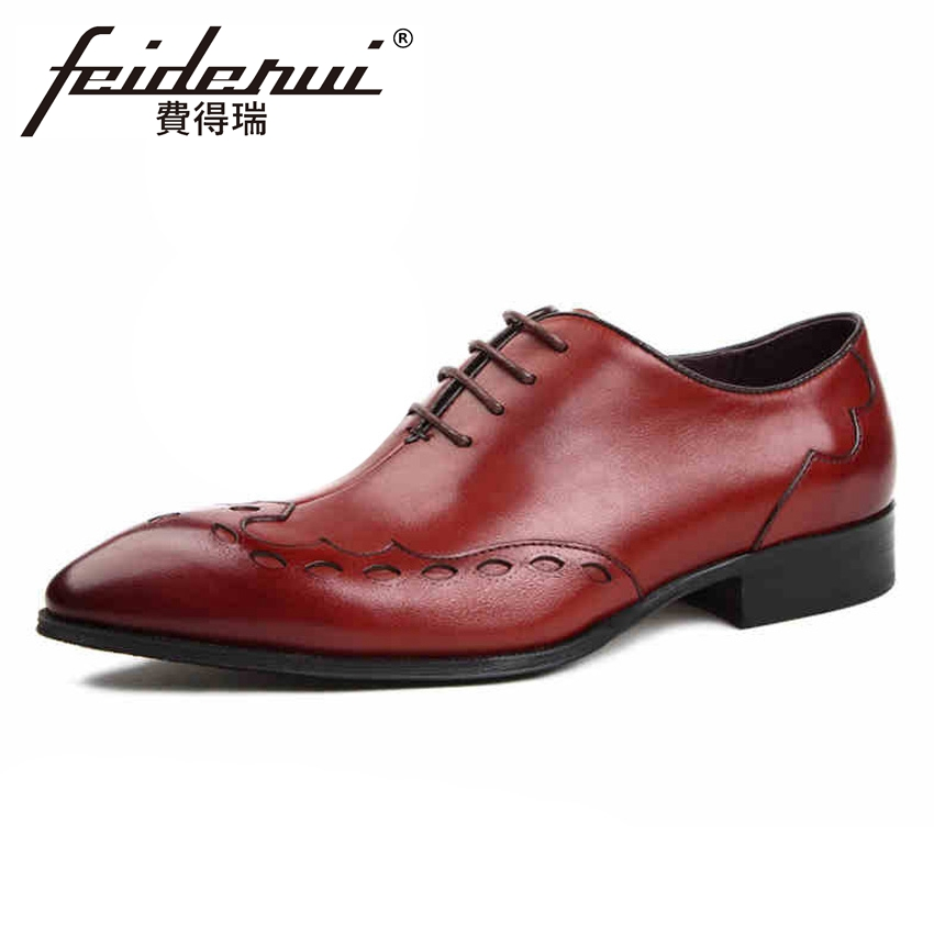 Luxury Carved Genuine Leather Men's Handmade Wedding Party Oxfords Pointed Toe Lace-up Man Formal Dress Brogue Shoes YMX334 pjcmg fashion black red lace up pointed toe genuine leather business carved formal casual dress oxfords shoes for man