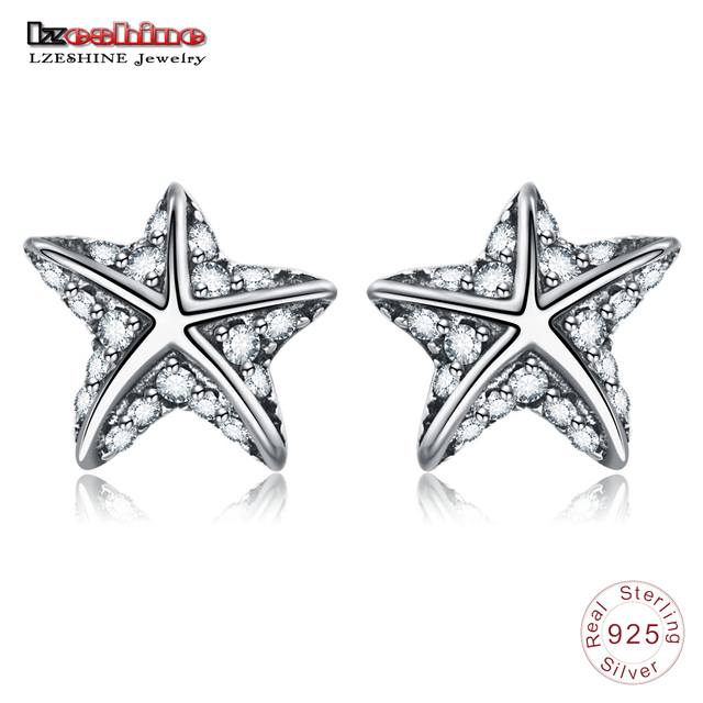 Lzeshine 100 925 Sterling Silver Starfish Stud Earrings With Pave Zircon Jewelry For Women Fashion