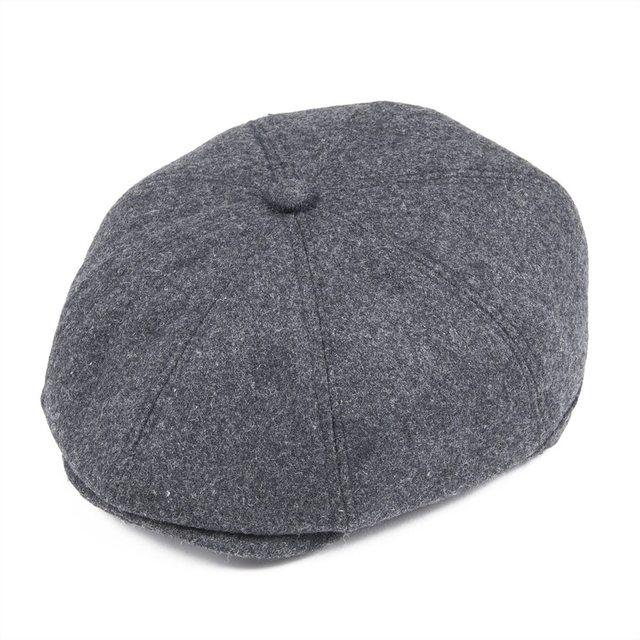 8516d6f4de8 VOBOOM Men s Cap Dark Gray Herringbone Tweed Wool Blend Newsboy Ivy Hat  Gatsby Caps Golf Cabbie Driving Hats 8 Panel Boina 111