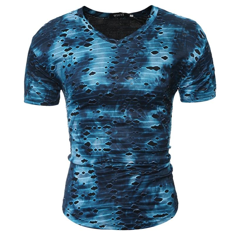 2017 új top póló divat nyári stílus vékony rövid ujjú férfi póló hűvös szakadt utcai ruha póló alkalmi Slim Fit póló