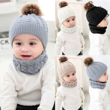 купить Toddler Kids Baby Boy Girl Fur Pom Hat Winter Warm Knit Bobble Beanie Cap Scarf New Arrival Winter oft Beanie Crochet Elasticity онлайн