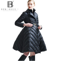 BEROBELLO 2017 New Autumn Winter Collection High Quality Down Jacket Skirt Style Solid Elegant Parka S