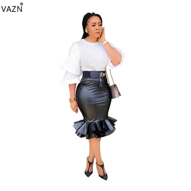 cb3829259a082 Buy VAZN Autumn Hot Fashion 2018 Women Solid Bodycon Knee Length ...