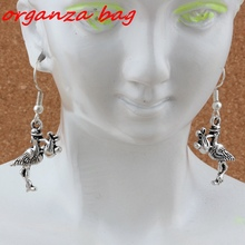 Stork New Baby Pregnant Expecting Earrings Silver Fish Ear Hook 3pairs/lot Antique Chandelier Jewelry 17x41mm A-255e