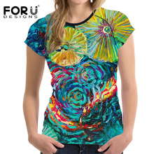 FORUDESIGNS Women's Fashion Short Sleeve T Shirt Summer 3D Painting Design O-neck Fitness Tee Shirt for Ladies Girl Student Tops