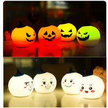 Halloween Decor Pumpkin Silicone Rechargeable Night Light  Sensitive Control Lamp Decoration