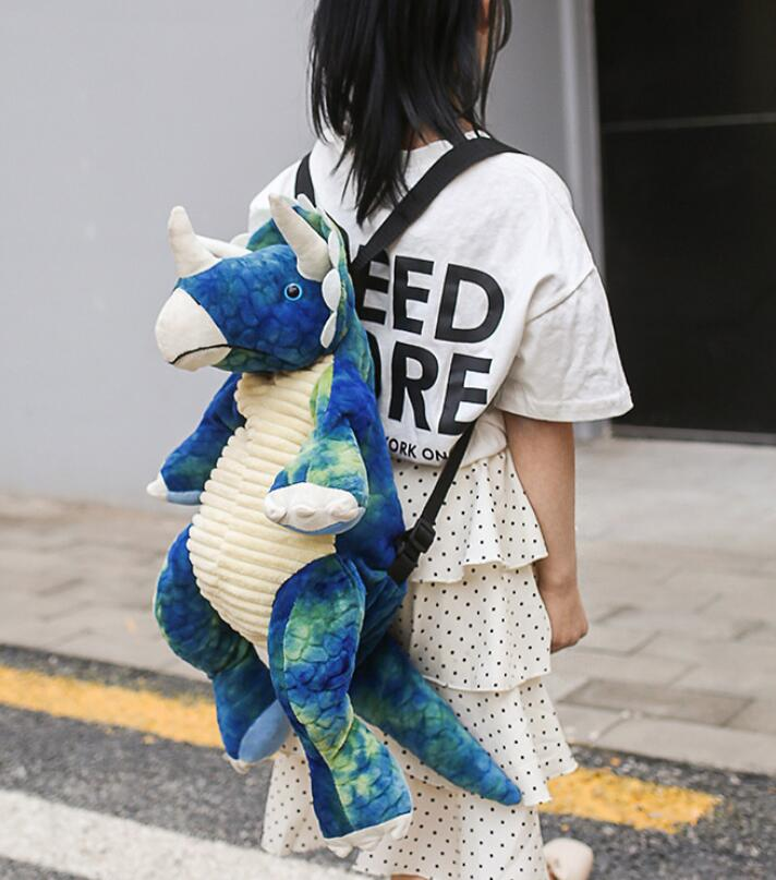 Cartoon Backpack Shoulder-Bags Dinosaur Cute-Style Children Can-Use And Explosive Adults