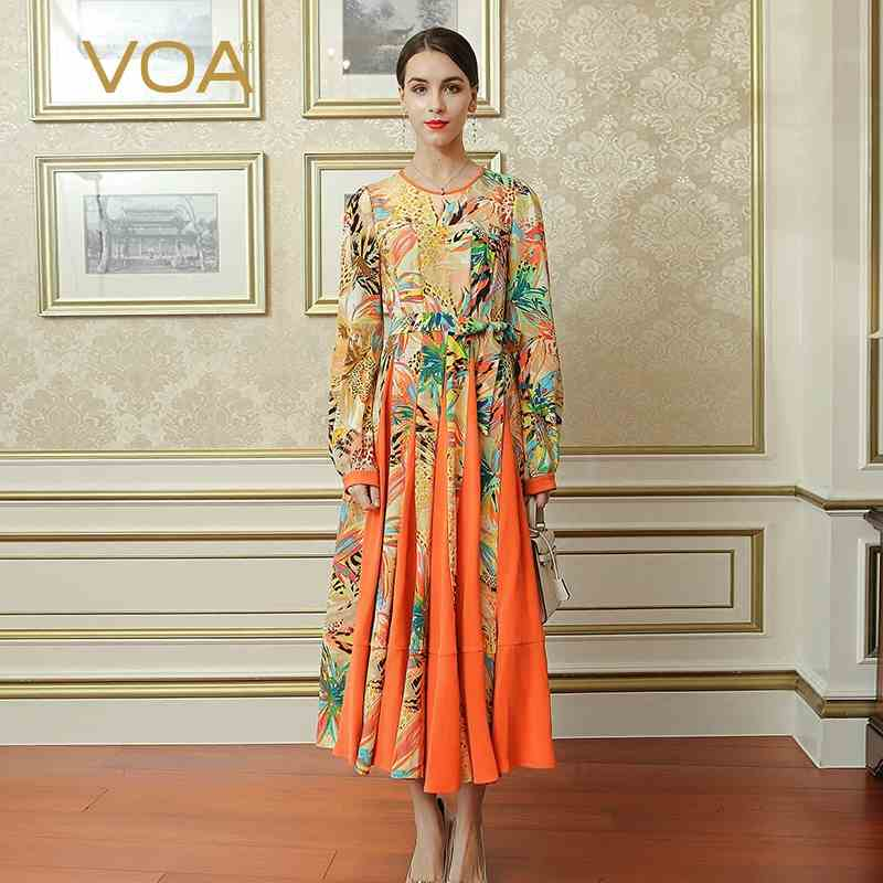VOA 2017 Fall Orange Boho Women Plus Size Printed Pleated Long Dress Loose High Waist Heavy Silk A Line Maxi Dress ALX16801