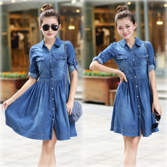 2f0651b3c6 Women Fashion Jean Casual Denim Dress Half Sleeve Knee Length Dress  Vestidos Femininos Women Clothing Jeans Dresses Large Sizes