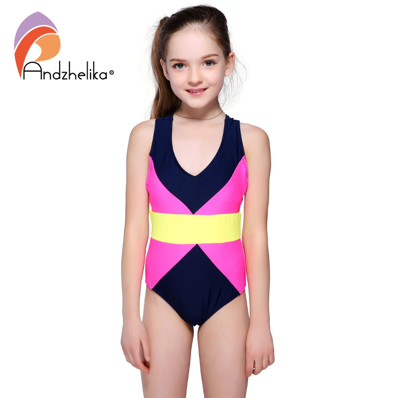 Andzhelika 2018 Girls Sports Swimsuit One-piece Swimwear Multi Color Patchwork Beach Bodysuit Swim Suit For Girl Monokini