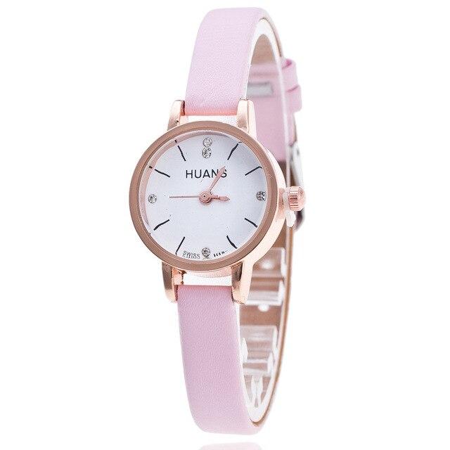 d76e74c10fe Relogio feminino reloj mujeres 2016 delicado mini rhinestone pequeño dial  correa de cuero relojes de cuarzo