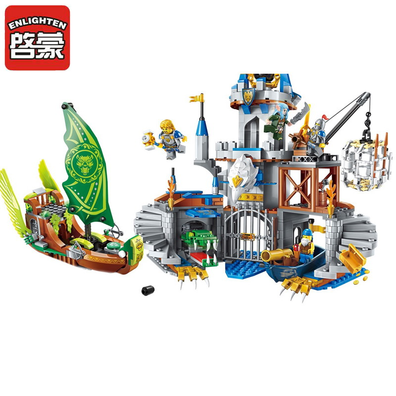 ENLIGHTEN War of Glory Castle Knights The Sliver Hawk Castle Model Building Blocks DIY Figure Toys For Children Compatible Legoe keys to the castle